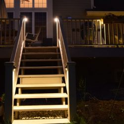 outdoor lighting installation on deck, mike's landscape lighting installation, landscape lighting mike's landscape lighting on your deck in Barrington