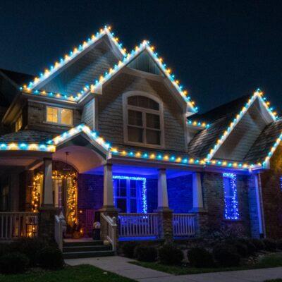 outdoor area christmas lights, holiday lighting for home, christmas light installation
