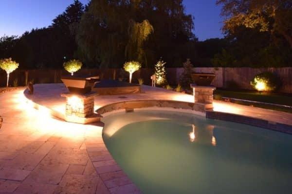 Pool Lighting in Gurnee, mikes landscape lighting, outdoor pool lighting